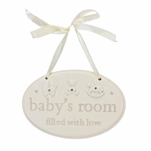 Baby's Room Resin Hanging Plaque Oval